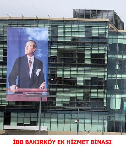 İBB Bakırköy Ek Hizmet Binası Ön Cephe Otomatik Motorlu Bayrak Poster Sistemi